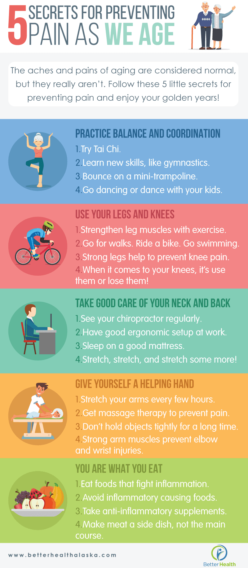 5 Secrets for Preventing Pain as We Age infographic