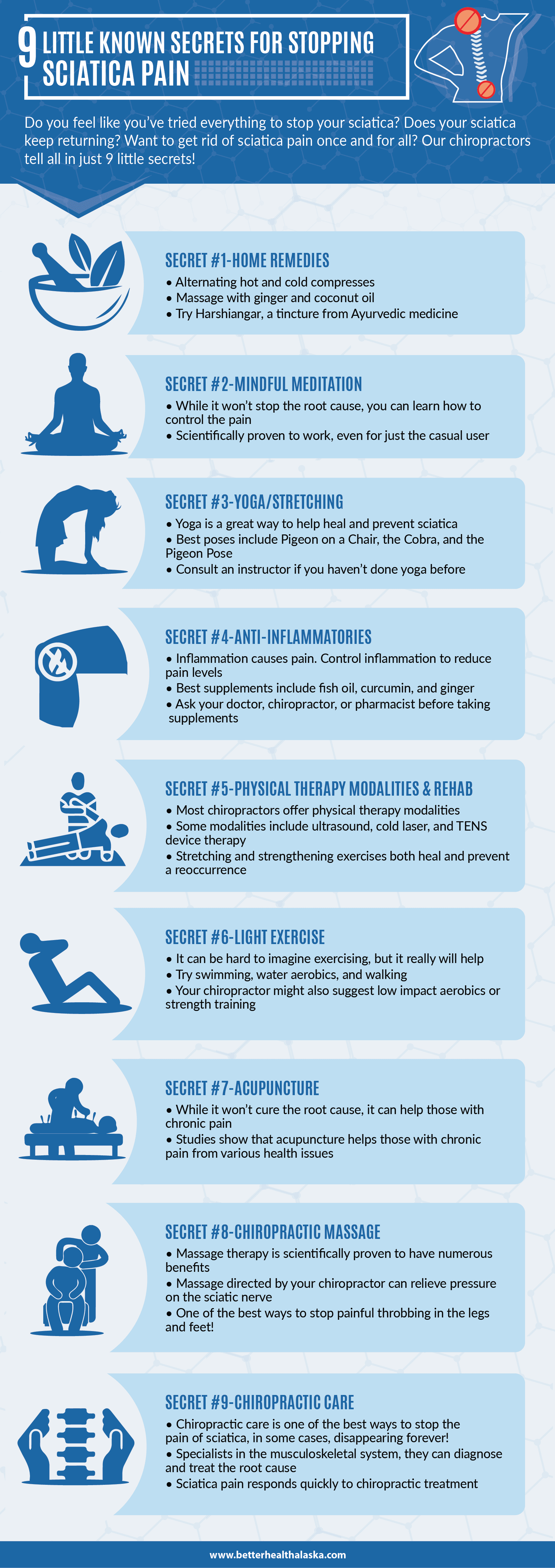 9 Little Known Secrets for Stopping Sciatica Pain infographic