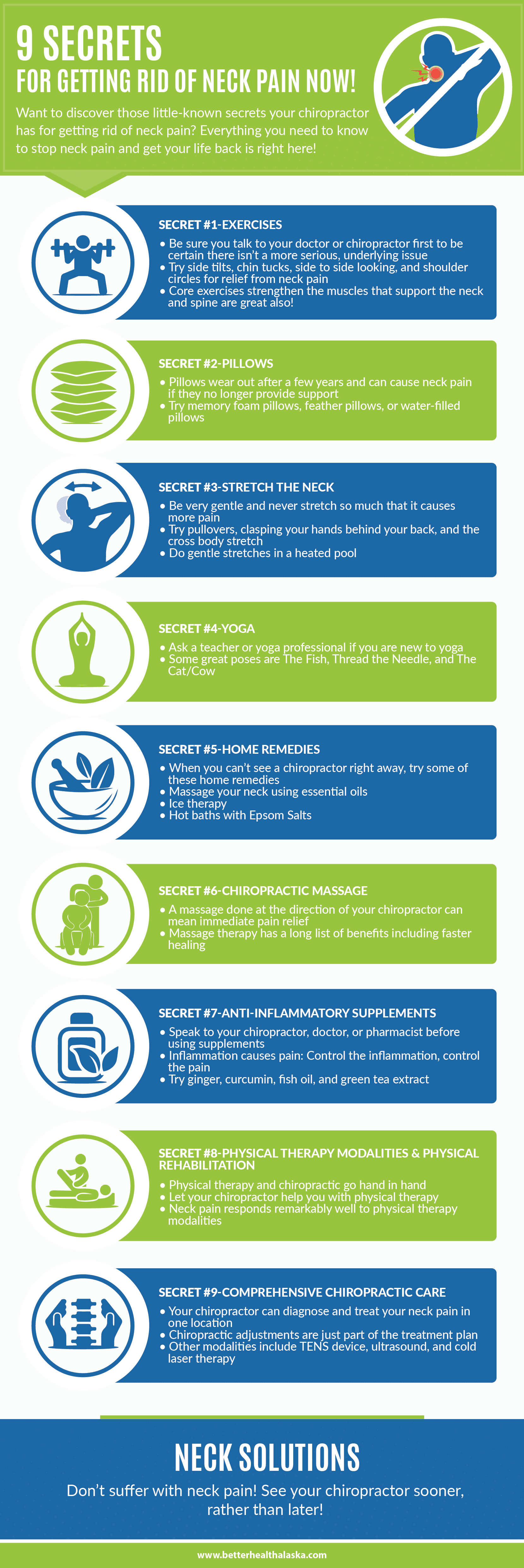 9 Secrets for Getting Rid of Neck Pain Infographic