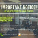 Crucial Coronavirus Statement Regarding Better Health Chiropractic clinics