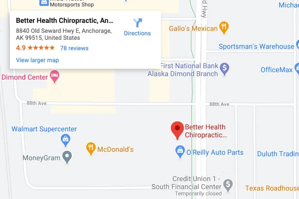 Google Maps of Better Health Chiropractic Anchorage